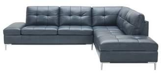 Orren Ellis Mercier Leather Sectional Orren Ellis Upholstery Color: Gray, Orientation: Right Hand Facing