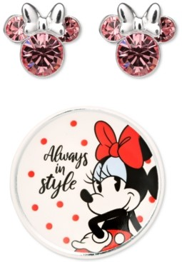 Disney Minnie Mouse Clear Crystal Stud in Sterling Silver with Bonus Trinket Dish