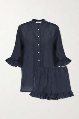 Sleeper Ruffled Linen Pajama Set - Navy