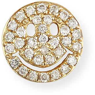 Sydney Evan 14k Pave Diamond Happy Face Single Stud Earring