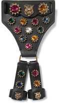 Gucci Leather, Crystal And Gold-tone Bracelet - Black