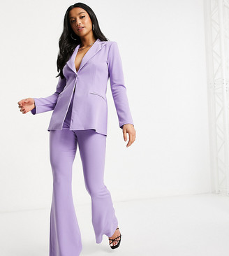 ASOS DESIGN Petite jersey kick flare suit pants in lilac