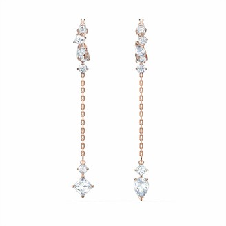 Swarovski Attract Dangling Earrings with White Crystals and Rose-Gold Tone Plated Chains Women's Pierced Earrings a Part of the Attract Collection
