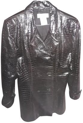 Saint Laurent Black Leather Coat for Women Vintage