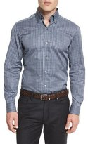 Ermenegildo Zegna Check Long-Sleeve Sport Shirt, Gray/Blue