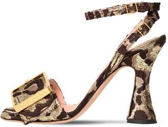 Rochas 100mm Leopard Jaquard Sandals