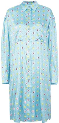 Natasha Zinko Monogram Print Shirt Dress