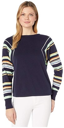 Vince Camuto Stripe Color Block Dolman Sleeve Sweater (Caviar) Women's Sweater