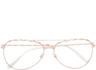 Elie Saab Carved Aviator Frame Glasses