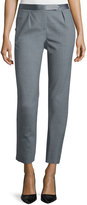 Halston Slim-Fit Cropped Pants, Heather Gray