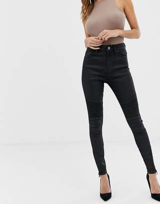 Asos Design DESIGN Ridley high waisted jeans in black coated with biker knee detail
