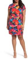 Ellen Tracy Plus Size Women's Print Jersey Sheath Dress
