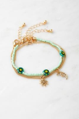 Urban Outfitters Gold-Tone & Beads Bracelet 3-Pack - Gold ALL at