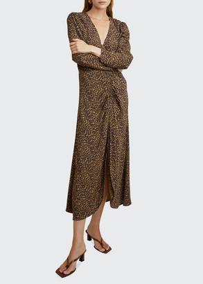 LES COYOTES DE PARIS Sabrina Leopard-Print Ruched Midi Dress