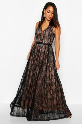 boohoo Boutique Lace Plunge Maxi Bridesmaid Dress