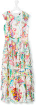 Roberto Cavalli Teen printed tiered long dress - kids - Silk/Acetate/Cupro - 14 yrs
