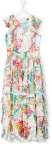 Roberto Cavalli Teen printed tiered long dress