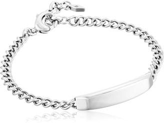 "Fossil Engravable Silver-Tone Link Bracelet 8"""