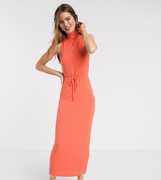 Asos DESIGN Tall Exclusive high neck ribbed midi dress with drawstring in orange