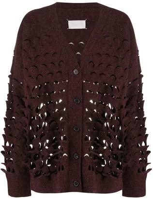 Maison Margiela oversized perforated V-neck cardigan