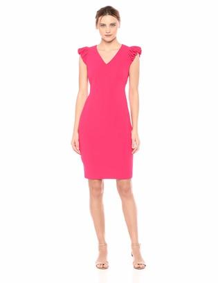 Calvin Klein Women's V Neck Sheath with Puff Sleeve Dress