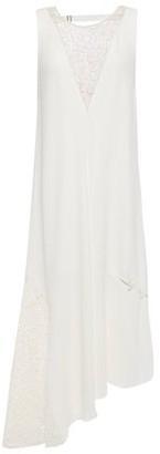 Tibi Guipure Lace-paneled Cutout Crepe Midi Dress