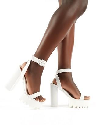 Public Desire Deja Vu Cleated Platform Block Heels Croc