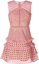 Self-Portrait crochet frill dress - women - Polyester - 8