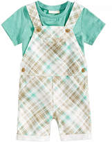 First Impressions 2-Pc. T-Shirt & Plaid Overall Set, Baby Boys, Created for Macy's