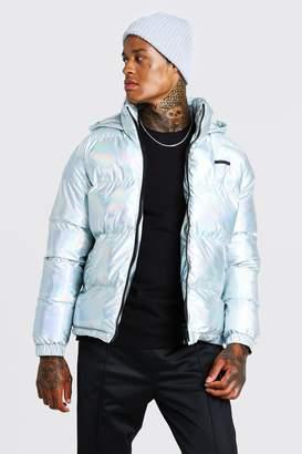 BoohoomanBoohooMAN Mens Grey Metallic Puffer Jacket, Grey
