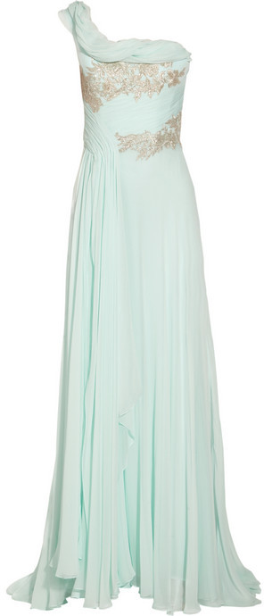 Marchesa One-shoulder appliquéd silk-chiffon gown