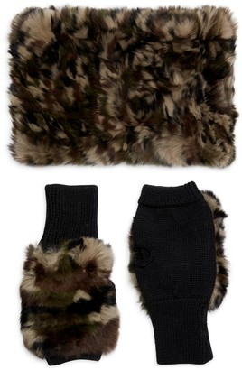 Jocelyn Camo Rabbit Fur Collar & Knit Fingerless Gloves