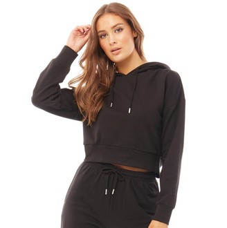 Fluid Womens Cotton/Recycled Polyester Crew Neck Cropped Hoodie Black