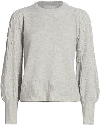 Design History Imitation Pearl Cashmere Combo Sweater