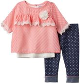 Little Lass Baby Girl Textured Chiffon Top, Solid Tank Top & Polka-Dot Jeggings Set