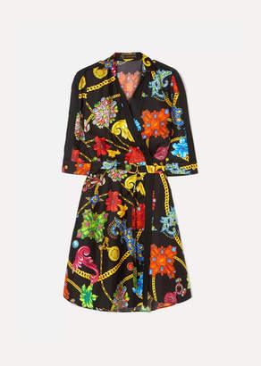 Versace Printed Silk-twill Wrap Dress - Black