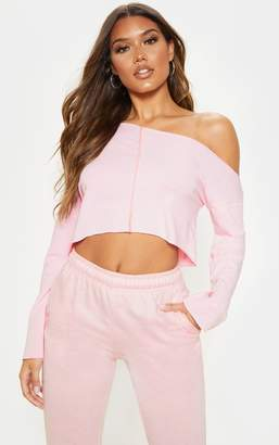 PrettyLittleThing Baby Pink Off Shoulder Sweater