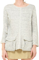 Max Studio Heathered French Terry Pullover With Pockets