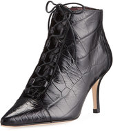Etienne Aigner Lana Croc-Embossed Waxy Leather Lace-Up Bootie, Black
