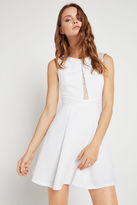 BCBGeneration Lace Trimmed Fit-and-Flare Dress - White