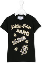 Philipp Plein logo embellished T-shirt - kids - Cotton/Spandex/Elastane - 8 yrs