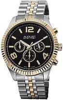 August Steiner Men's AS8096TTG Swiss Quartz Multifunction Black Dial Silver-tone & Gold-tone Stainless Steel Bracelet Watch