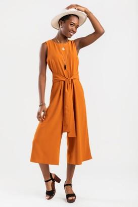 francesca's Ideen Front Tie Culottes Jumpsuit - Mustard
