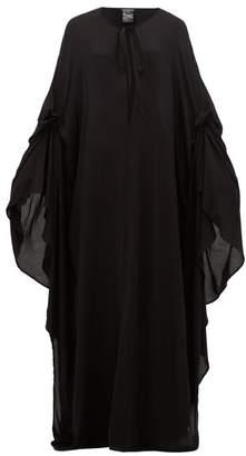 Ann Demeulemeester Ewing Cape-sleeve Poplin Maxi Dress - Womens - Black