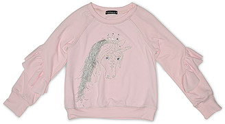 Biscotti Girls' Sweatshirts and Hoodies PINK - Pink Unicorn Ruffle-Sleeve Sweatshirt - Infant, Toddler & Girls