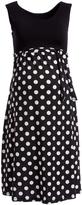 Glam Black & White Polka Dot Tie-Waist Maternity Dress