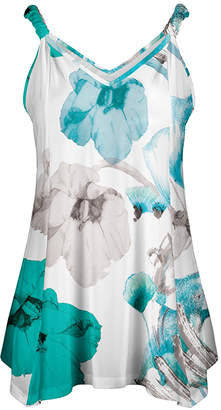 Lily Women's Tunics BLU - Blue & Aqua Floral Sleeveless Handkerchief Tunic - Women & Plus