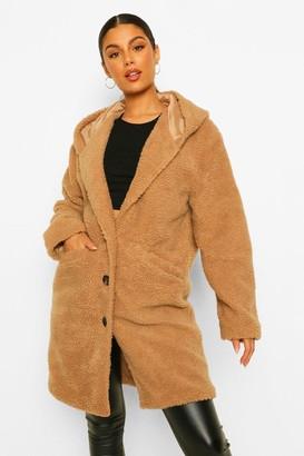 boohoo Hooded Teddy Faux Fur Jacket