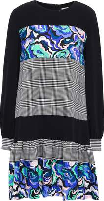 Emilio Pucci Paneled Crepe De Chine, Houndstooth Jacquard And Printed Twill Mini Dress