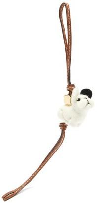 Loewe Puppy Leather-trimmed Wool Key Charm - Beige